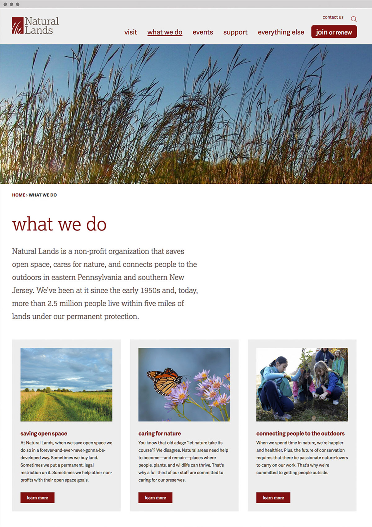 Natural Lands website